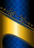 Gold border on a blue patterned background