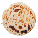 fried pancake isolated on white background. close up