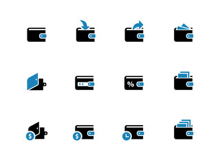 Wallet duotene icons on white background
