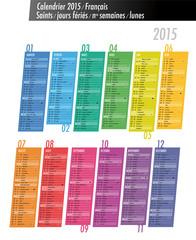 Calendrier 2015 (saints, semaines, lunes)
