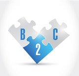 b2c puzzle pieces illustration design