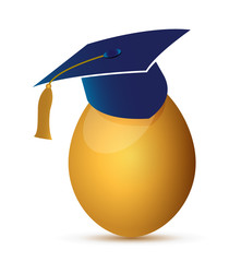 egg with an graduation hat illustration design