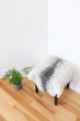 Green plant and stool covered with sheepskin in the room corner