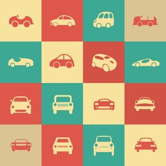 Retro cars icons set different vector car forms.