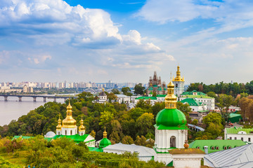 Panoramic view of Kiev Pechersk Lavra Orthodox Monastery in Kiev