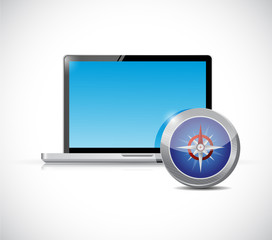 laptop and compass illustration design
