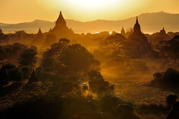 Sunrise over temples of Bagan in Myanmar