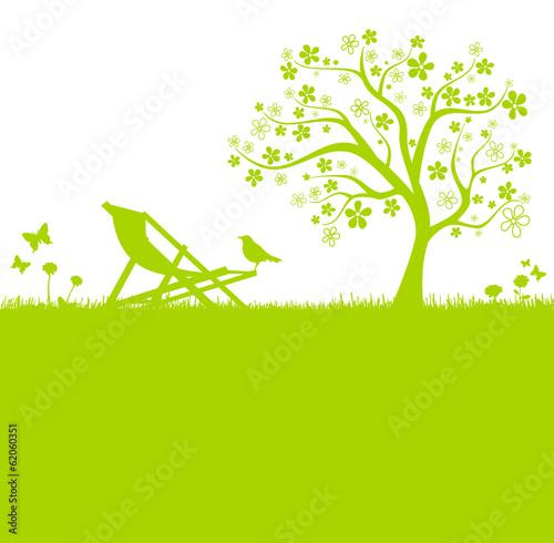 Baum Wiese Liegestuhl