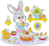 Easter rabbit decorating a fancy cake