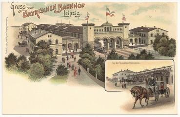 Gruss vom Bayrischen Bahnhof in Leipzig 1900 (hist. Postkarte)