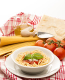dish with spaghetti and tomato souce