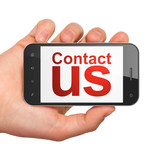 Advertising concept: Contact Us on smartphone