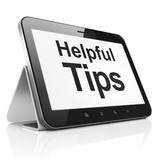 Education concept: Helpful Tips on tablet pc computer