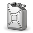 Jerrycan. Metal canister on white isolated background.