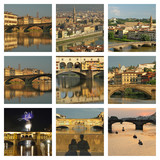 collage with wonderful images of Arno river in Florence