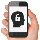 Business concept: Head With Padlock on smartphone
