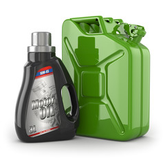 Motor oil canister and jerrycan of petrol or gas.