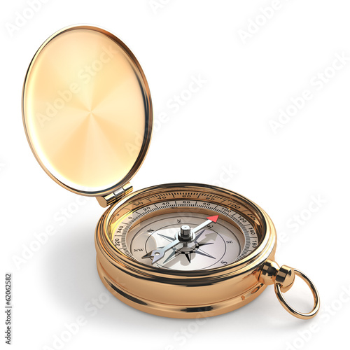 Leinwanddruck Bild Gold compass on white isolated background.