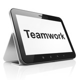 Business concept: Teamwork on tablet pc computer