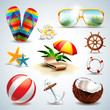 Vector Summer Holiday Icon set on clear background. - 62062902
