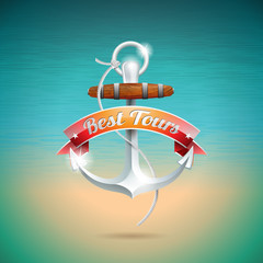Vector Summer Holiday Design with anchor on blue sea background.