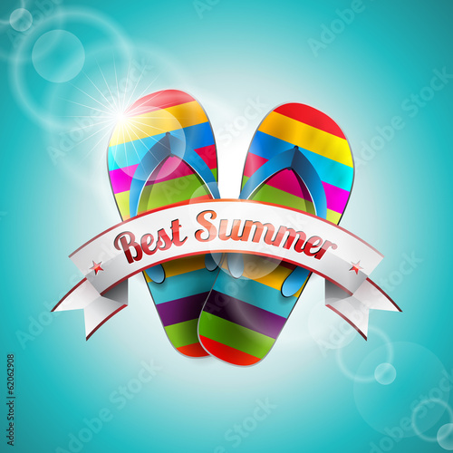 Vector Summer Holiday Design with slipper and ribbon