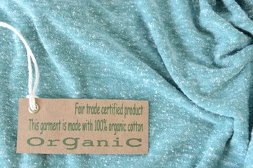 Garment with certified organic fabric label.