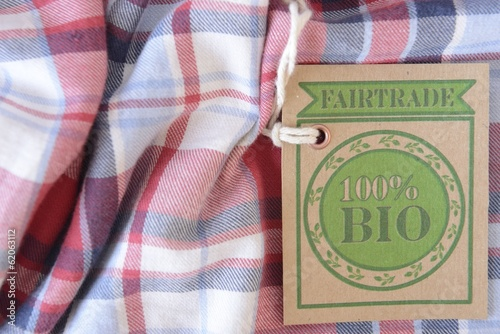 PLaid garment with certified bio or organic fabric label.