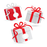 Fototapety Paper Vector Gift Box Set - Silver and Red