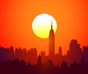 City Sunset-Vector