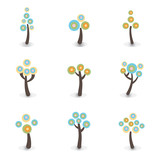 Colorful trees icons