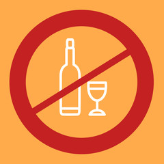Prohibiting sign crosses a bottle and glass.