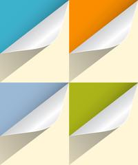 Colorful Paper Bent Corners Illustration Set