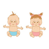 Vector illustration of baby boys and baby girl