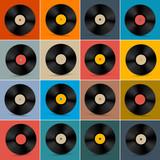 Fototapety Retro, Vintage Vector Vinyl Record Disc Set