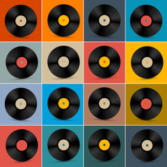 Retro, Vintage Vector Vinyl Record Disc Set