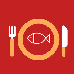 plate with knife and fork with an icon of fish