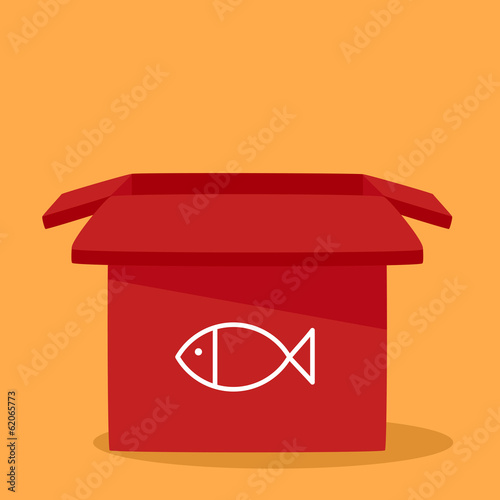 box with a fish.