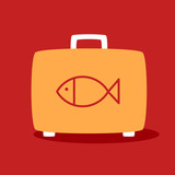 suitcase with a fish.