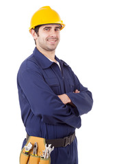 Portrait of a smiling young worker, isolated on white