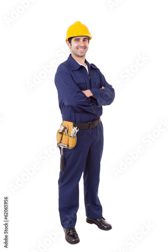 Full body portrait of a worker, isolated on white