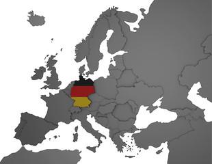 3D Europakarte grau / weiß- Deutschland Flagge