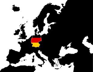 2D Europakarte schwarz/ weiß mit Deutschland Flagge