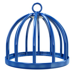Illustration of blue bird cage