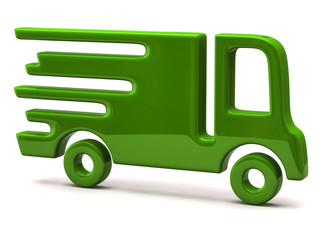 Illustration of fast delivery green truck isolated on white