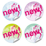 Set button,sticker,new,coloured,vector,free,grunge