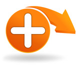 symbole plus sur bouton orange