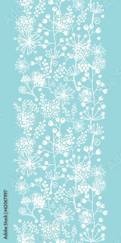 Vector blue and white lace garden plants vertical seamless
