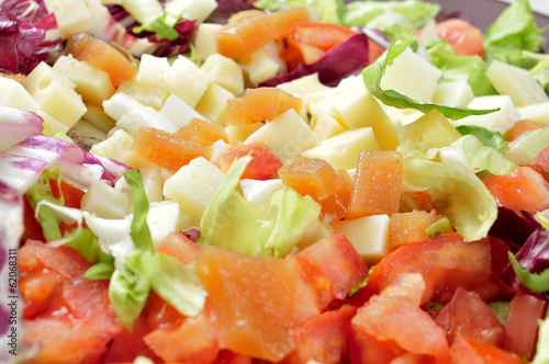 salad with diced cheese and quince jelly