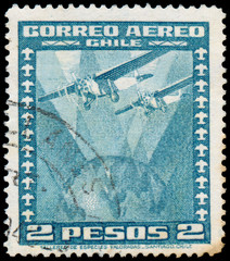 CHILE - CIRCA 1934: a stamp printed in the Chile shows Two Airpl